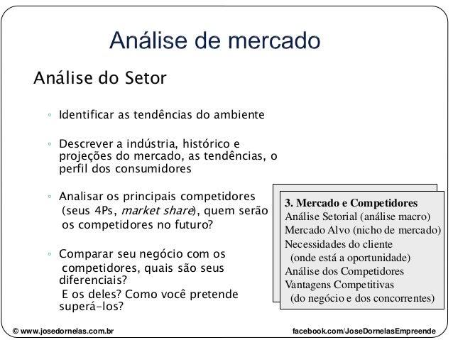 Análise do Setor ◦ Identificar as tendências do ambiente ◦ Descrever a indústria, histórico e projeções do mercado, as ten...