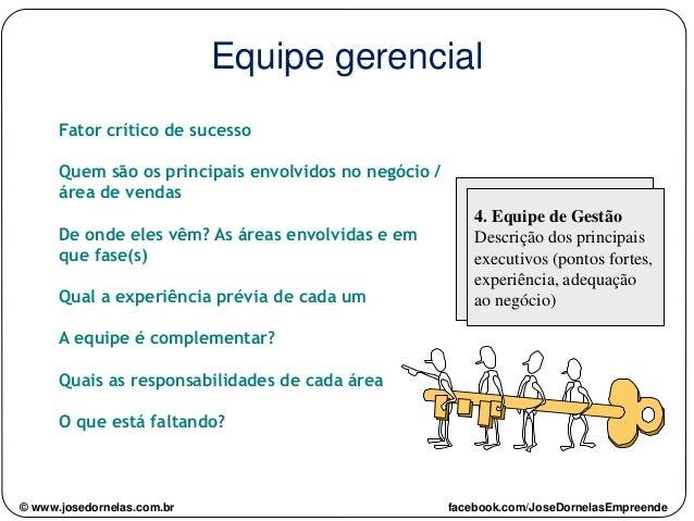 Equipe gerencial Fator crítico de sucesso Quem são os principais envolvidos no negócio / área de vendas De onde eles vêm? ...