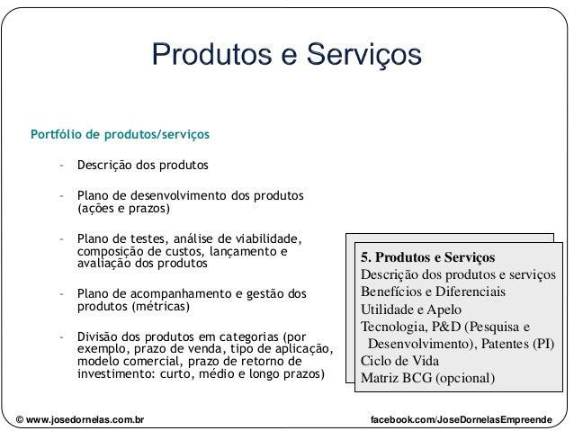 Portfólio de produtos/serviços – Descrição dos produtos – Plano de desenvolvimento dos produtos (ações e prazos) – Plano d...