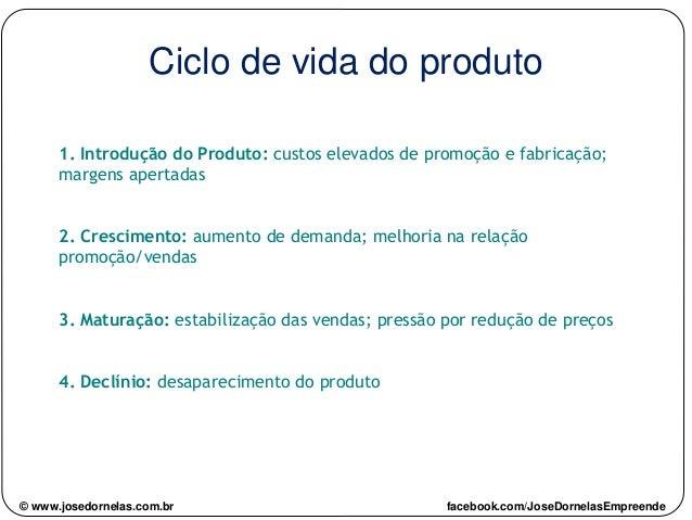 Ciclo de vida do produto 1. Introdução do Produto: custos elevados de promoção e fabricação; margens apertadas 2. Crescime...