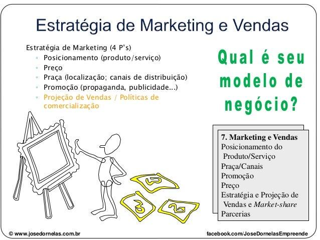 Estratégia de Marketing (4 P's) ◦ Posicionamento (produto/serviço) ◦ Preço ◦ Praça (localização; canais de distribuição) ◦...