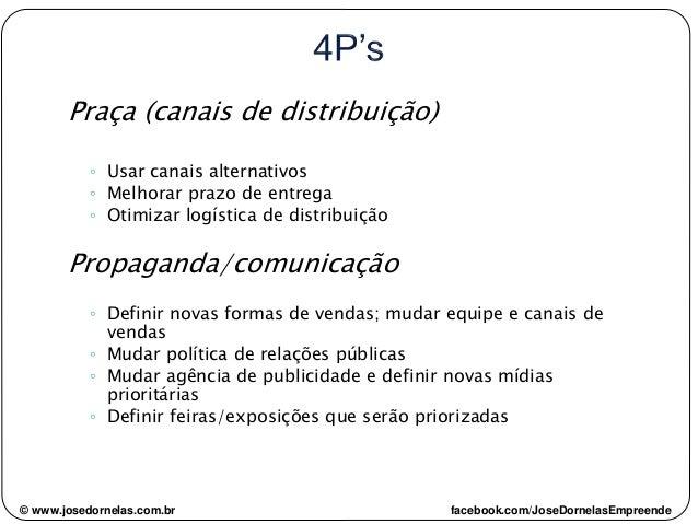 Praça (canais de distribuição) ◦ Usar canais alternativos ◦ Melhorar prazo de entrega ◦ Otimizar logística de distribuição...