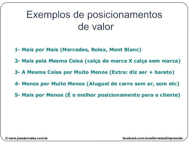 1- Mais por Mais (Mercedes, Rolex, Mont Blanc) 2- Mais pela Mesma Coisa (calça de marca X calça sem marca) 3- A Mesma Cois...