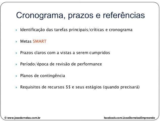  Identificação das tarefas principais/críticas e cronograma  Metas SMART  Prazos claros com a vistas a serem cumpridos ...