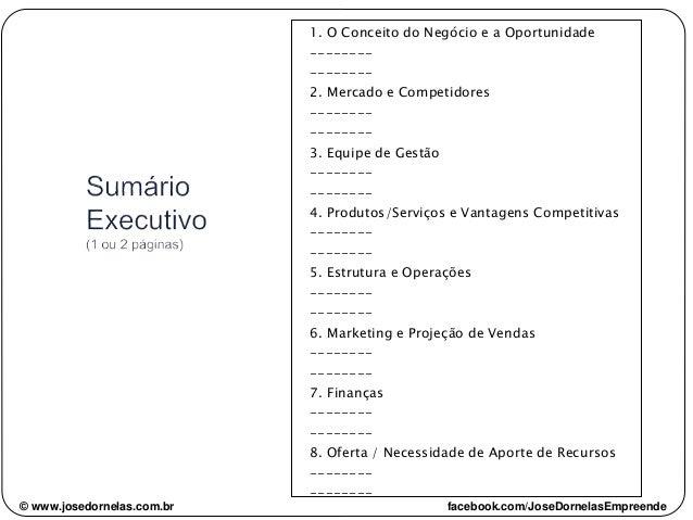 1. O Conceito do Negócio e a Oportunidade -------- -------- 2. Mercado e Competidores -------- -------- 3. Equipe de Gestã...