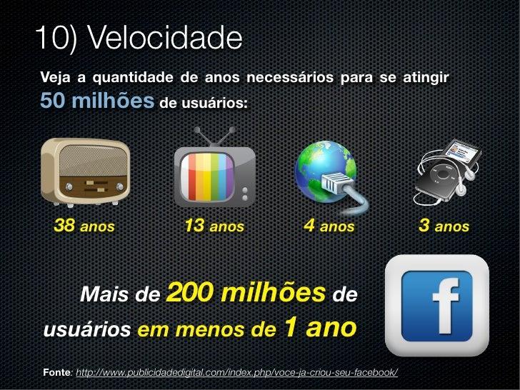 10) VelocidadeVeja a quantidade de anos necessários para se atingir50 milhões de usuários:  38 anos                     13...