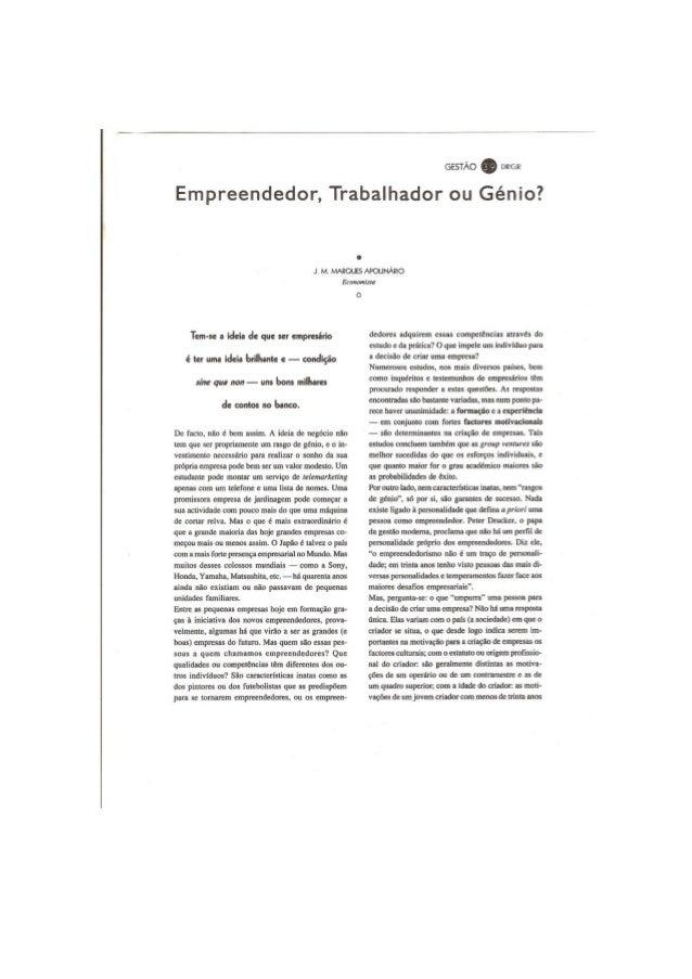 Empreendedor, trabalhador ou génio