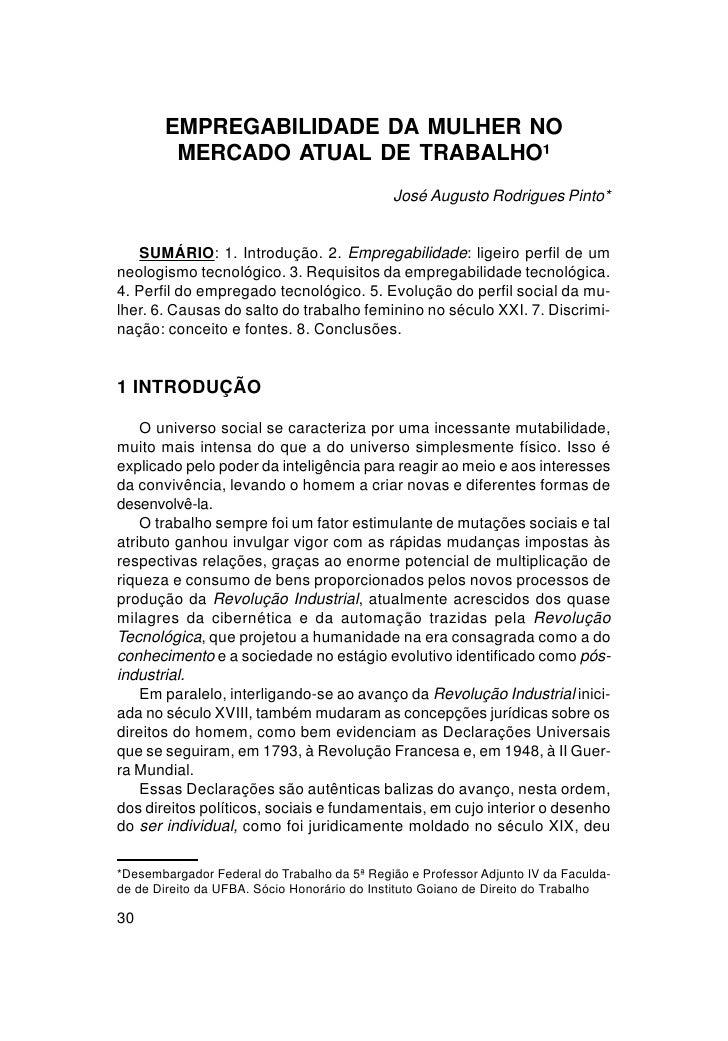 EMPREGABILIDADE DA MULHER NO        MERCADO ATUAL DE TRABALHO¹                                             José Augusto Ro...
