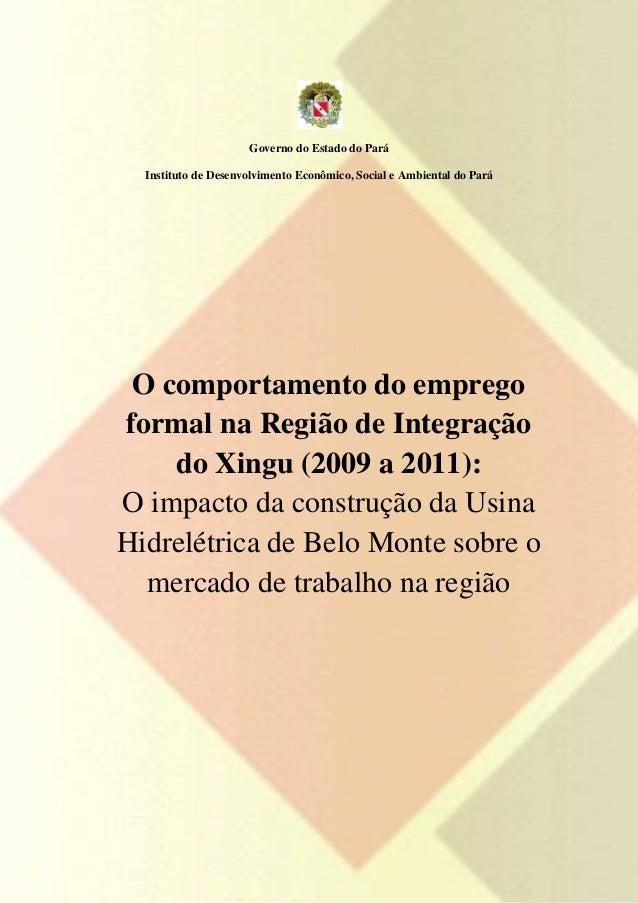 Governo do Estado do Pará  Instituto de Desenvolvimento Econômico, Social e Ambiental do Pará O comportamento do empregofo...