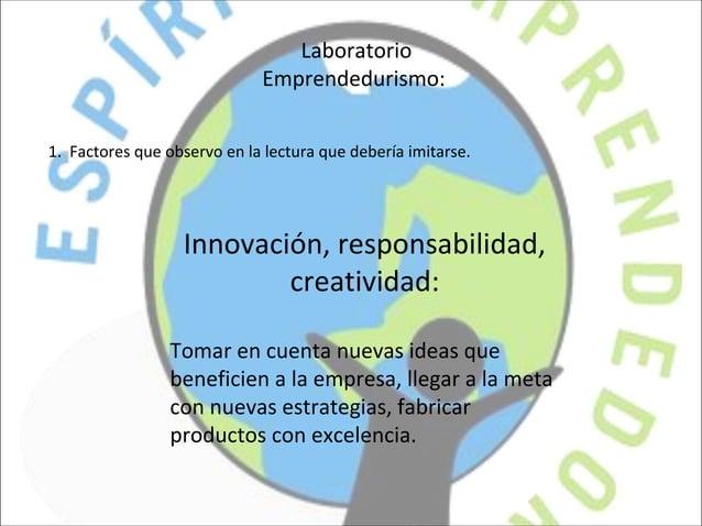 LaboratorioEmprendedurismo:1. Factores que observo en la lectura que debería imitarse.Innovación, responsabilidad,creativi...