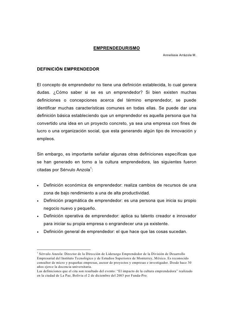 EMPRENDEDURISMO                                                                                    Annelissie Arrázola M.D...