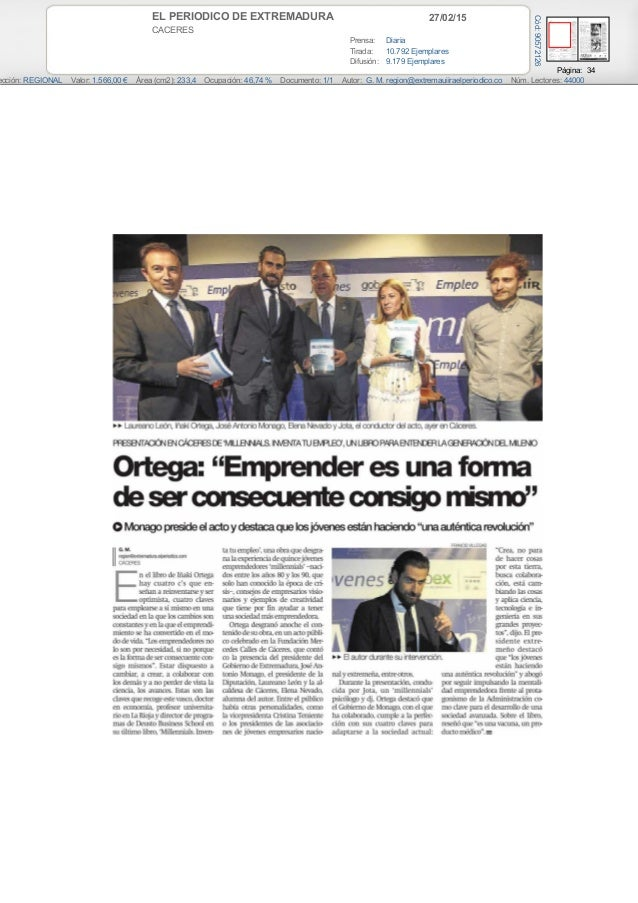 27/02/15EL PERIODICO DE EXTREMADURA CACERES Prensa: Diaria Tirada: 10.792 Ejemplares Difusión: 9.179 Ejemplares Página: 34...