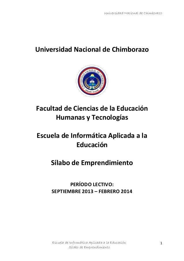 Universidad Nacional de Chimborazo  Universidad Nacional de Chimborazo  Facultad de Ciencias de la Educación Humanas y Tec...