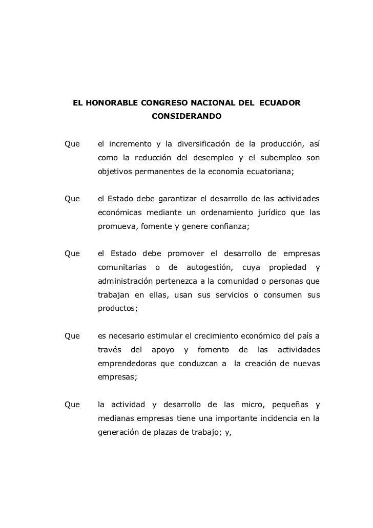 EL HONORABLE CONGRESO NACIONAL DEL ECUADOR                     CONSIDERANDOQue   el incremento y la diversificación de la ...