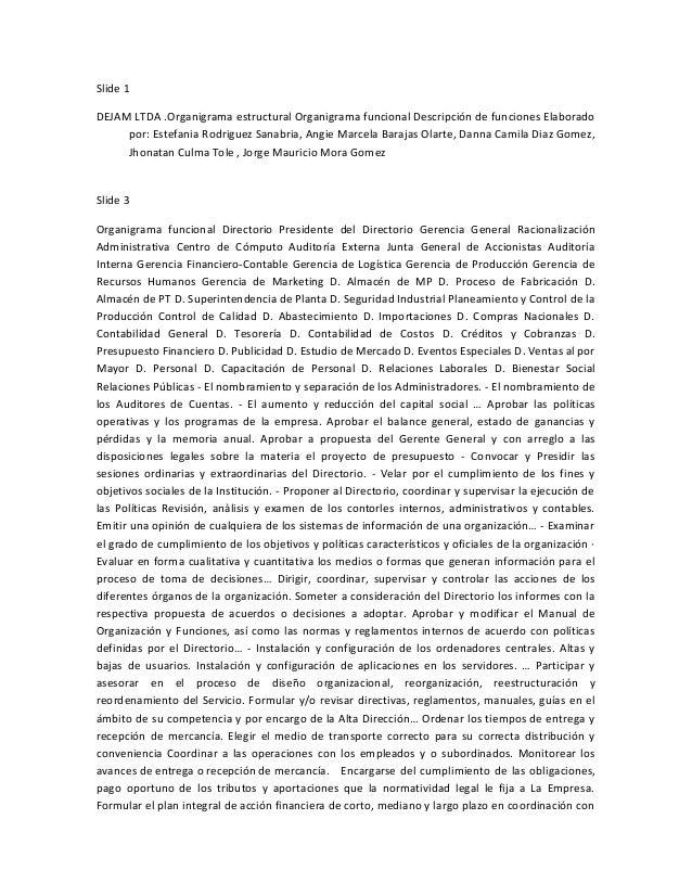 Slide 1DEJAM LTDA .Organigrama estructural Organigrama funcional Descripción de funciones Elaboradopor: Estefania Rodrigue...