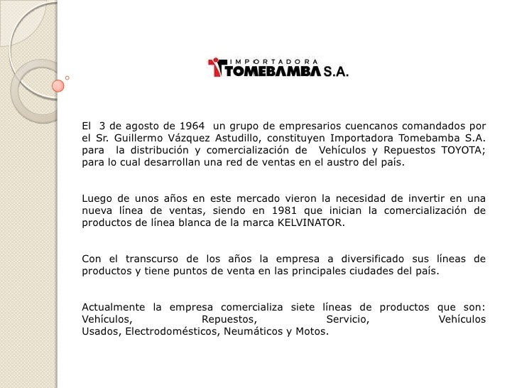 El 3 de agosto de 1964 un grupo de empresarios cuencanos comandados porel Sr. Guillermo Vázquez Astudillo, constituyen Imp...
