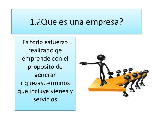 1.¿Que es una empresa?  Es todo esfuerzo    realizado qe  emprende con el    proposito de       generar riquezas,terminosq...