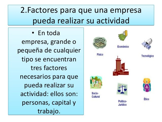2.Factores para que una empresa    pueda realizar su actividad     • En toda  empresa, grande opequeña de cualquier tipo s...