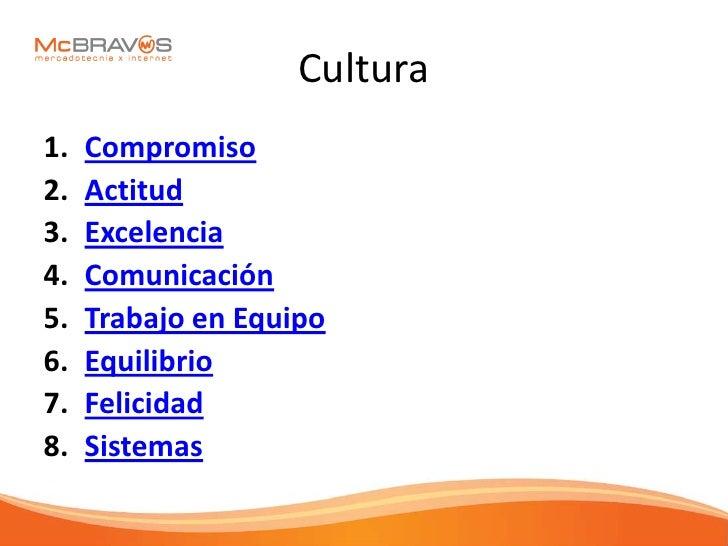 Cultura 1.   Compromiso 2.   Actitud 3.   Excelencia 4.   Comunicación 5.   Trabajo en Equipo 6.   Equilibrio 7.   Felicid...