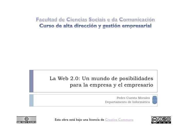 La Web 2.0: Un mundo de posibilidades        para la empresa y el empresario                                           Ped...
