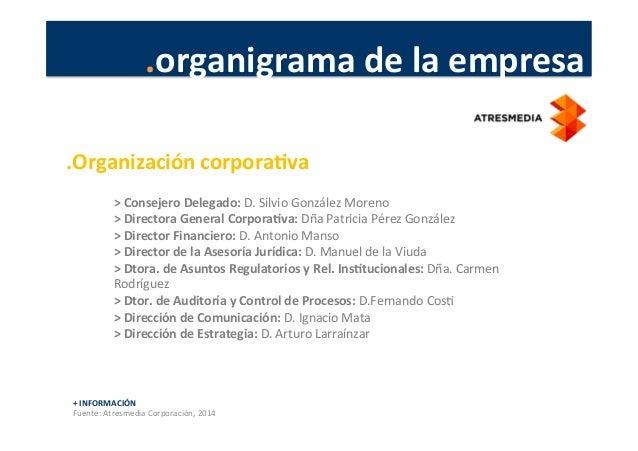 .organigrama  de  la  empresa   +  INFORMACIÓN   Fuente:  Atresmedia  Corporación,  2014   >  Consej...