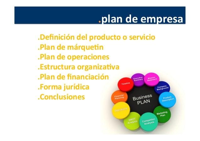 .plan  de  empresa   .Definición  del  producto  o  servicio   .Plan  de  márqueJn   .Plan  de  o...