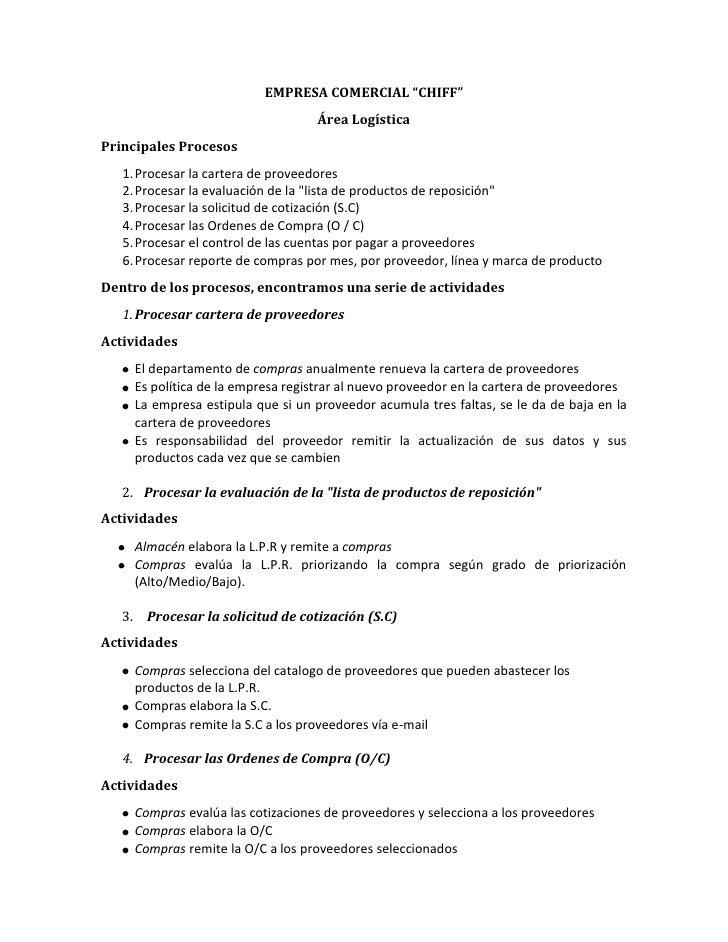 """EMPRESA COMERCIAL """"CHIFF""""<br />Área Logística<br />Principales Procesos<br />Procesar la cartera de proveedores<br />Proce..."""
