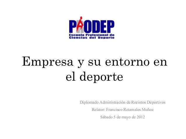 Empresa y su entorno en el deporte Diplomado Administración de Recintos Deportivos Relator: Francisco Retamales Muñoz Sába...