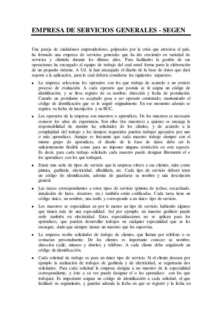 EMPRESA DE SERVICIOS GENERALES - SEGENUna pareja de ciudadanos emprendedores, golpeados por la crisis que atraviesa el paí...