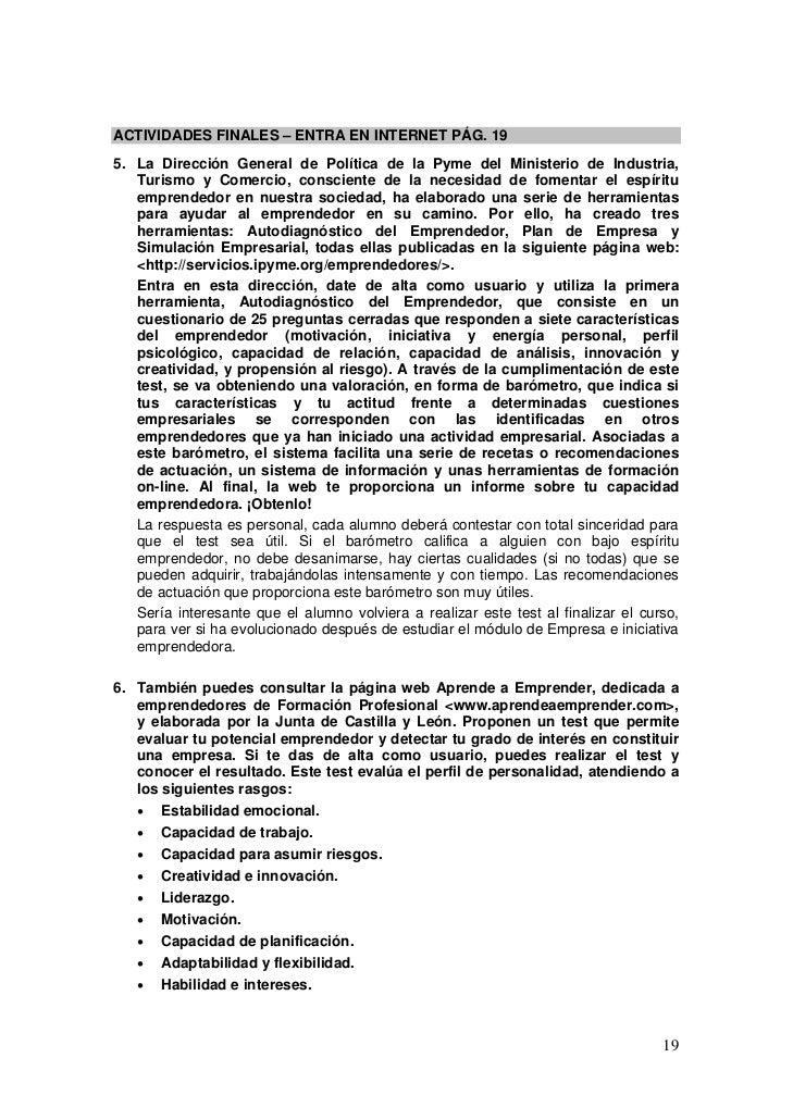 ACTIVIDADES FINALES – ENTRA EN INTERNET PÁG. 195. La Dirección General de Política de la Pyme del Ministerio de Industria,...