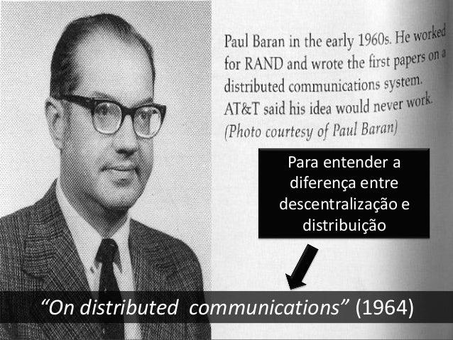 """""""On distributed communications"""" (1964) Para entender a diferença entre descentralização e distribuição"""