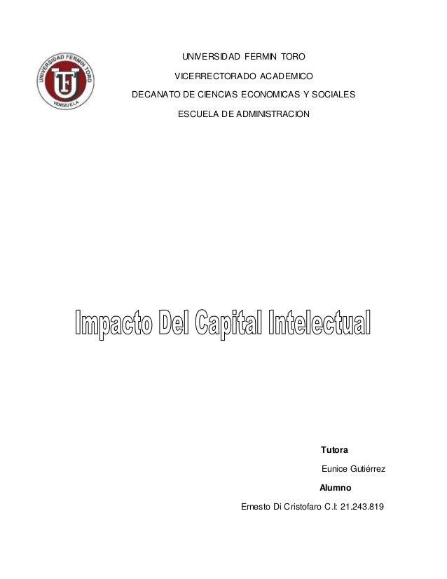 UNIVERSIDAD FERMIN TORO VICERRECTORADO ACADEMICO DECANATO DE CIENCIAS ECONOMICAS Y SOCIALES ESCUELA DE ADMINISTRACION Tuto...