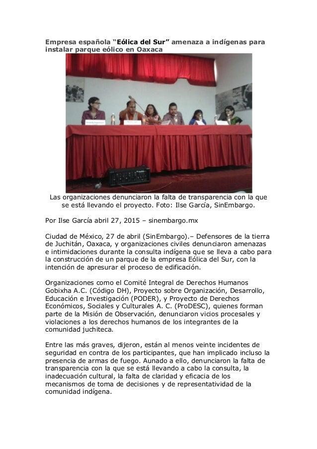 """Empresa española """"Eólica del Sur"""" amenaza a indígenas para instalar parque eólico en Oaxaca Las organizaciones denunciaron..."""