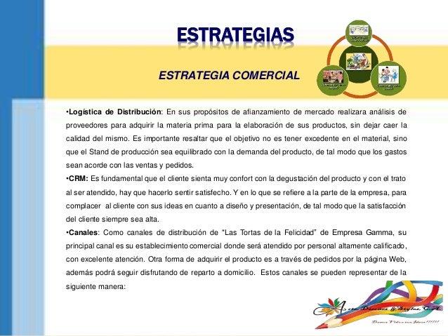 ESTRATEGIAS •Logística de Distribución: En sus propósitos de afianzamiento de mercado realizara análisis de proveedores pa...