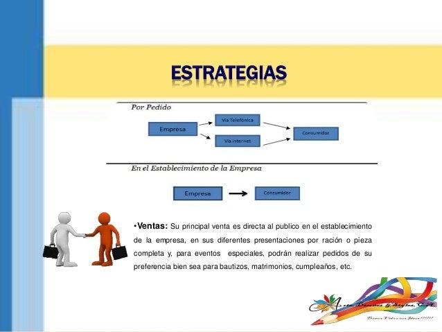 ESTRATEGIAS •Ventas: Su principal venta es directa al publico en el establecimiento de la empresa, en sus diferentes prese...
