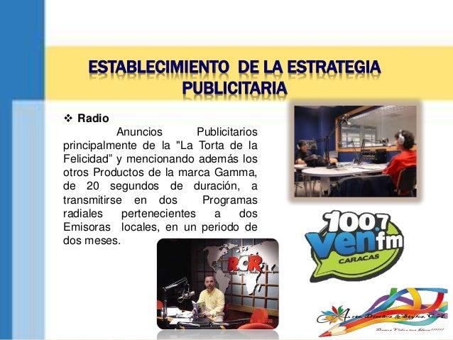 """ESTABLECIMIENTO DE LA ESTRATEGIA PUBLICITARIA  Radio Anuncios Publicitarios principalmente de la """"La Torta de la Felicida..."""