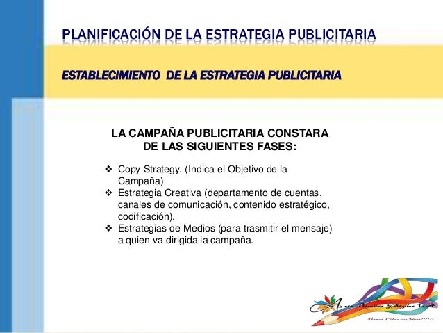 PLANIFICACIÓN DE LA ESTRATEGIA PUBLICITARIA ESTABLECIMIENTO DE LA ESTRATEGIA PUBLICITARIA LA CAMPAÑA PUBLICITARIA CONSTARA...