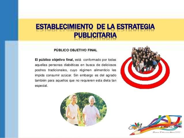 ESTABLECIMIENTO DE LA ESTRATEGIA PUBLICITARIA PÚBLICO OBJETIVO FINAL El público objetivo final, está conformado por todas ...