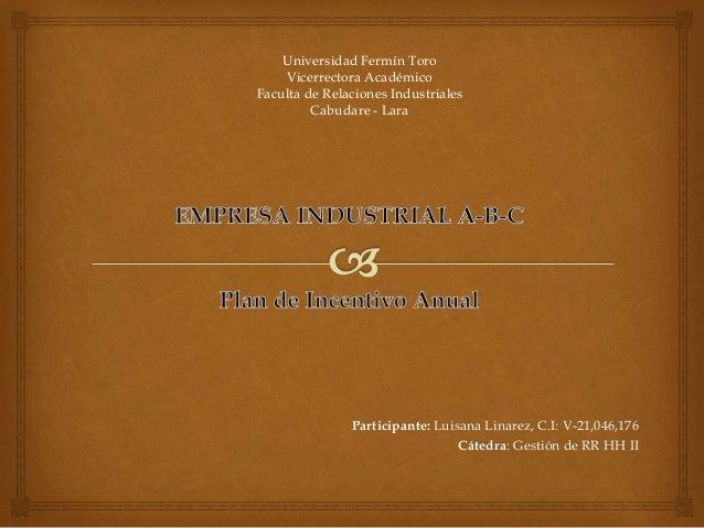 Participante: Luisana Linarez, C.I: V-21,046,176 Cátedra: Gestión de RR HH II Universidad Fermín Toro Vicerrectora Académi...