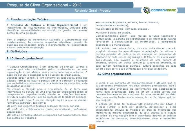 Relatório Modelo Pesquisa de Clima Organizacional Slide 3