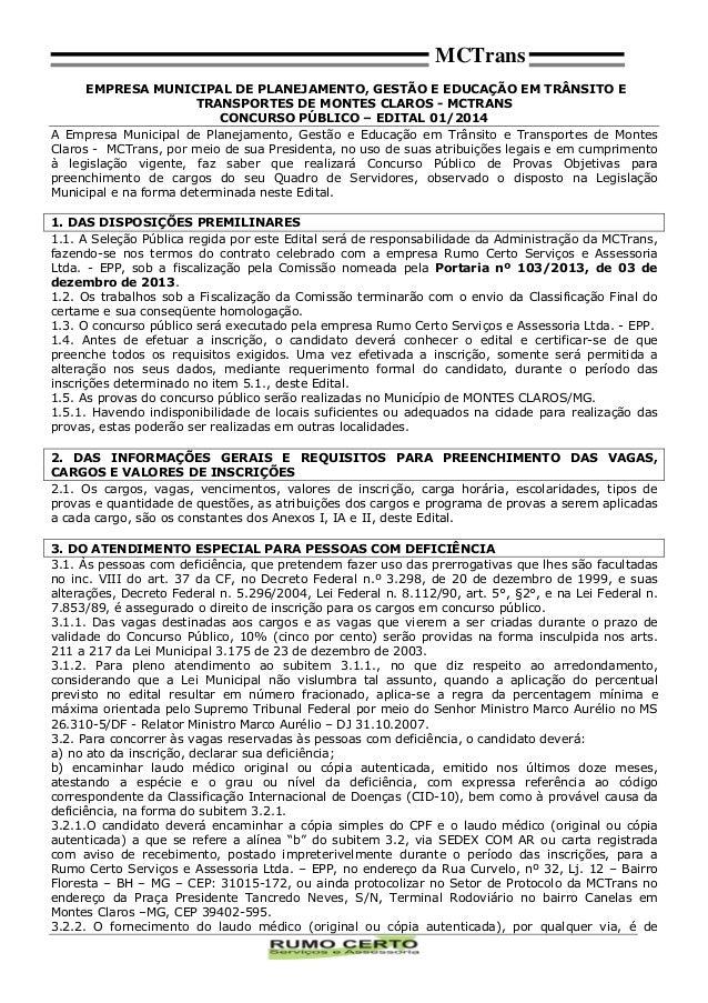 MCTrans EMPRESA MUNICIPAL DE PLANEJAMENTO, GESTÃO E EDUCAÇÃO EM TRÂNSITO E TRANSPORTES DE MONTES CLAROS - MCTRANS CONCURSO...