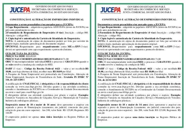 GOVERNO DO ESTADO DO PARÁ  SECRETARIA DE COMÉRCIO E SERVIÇO  JUNTA COMERCIAL DO ESTADO DO PARÁ  CONSTITUIÇÃO E ALTERAÇÃO D...