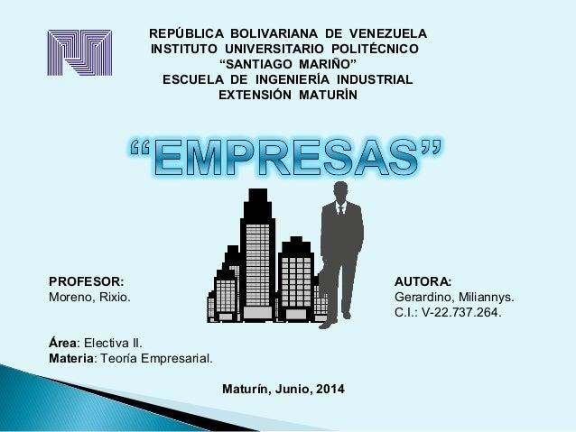"""REPÚBLICA BOLIVARIANA DE VENEZUELA INSTITUTO UNIVERSITARIO POLITÉCNICO """"SANTIAGO MARIÑO"""" ESCUELA DE INGENIERÍA INDUSTRIAL ..."""