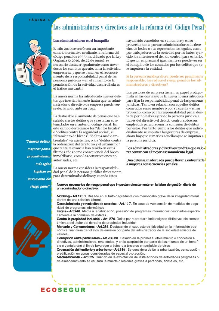 PÁGINA 4                    Los administradores y directivos ante la reforma del Código Penal                    Los admin...