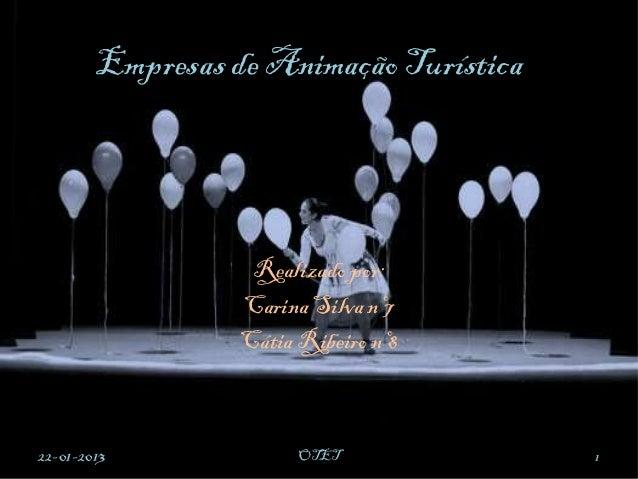 Empresas de Animação Turística                   Realizado por:                  Carina Silva nº7                  Cátia R...