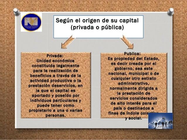 Según el origen de su capital (privada o pública) Privada: Unidad económica constituida legalmente para la realización de ...