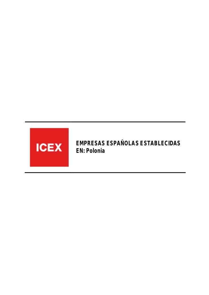 EMPRESAS ESPAÑOLAS ESTABLECIDASEN: Polonia