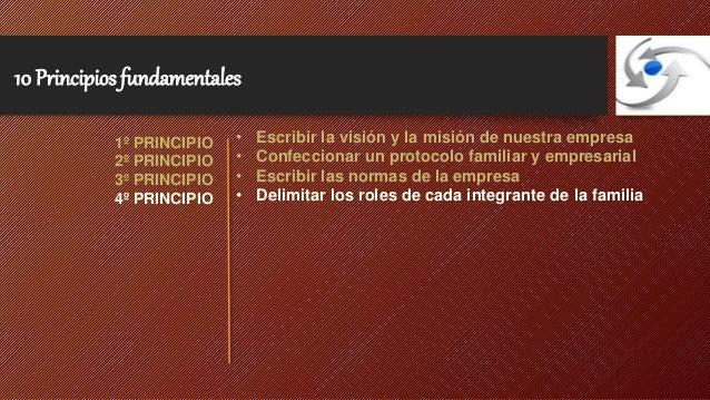 10 Principios fundamentales  • Escribir la visión y la misión de nuestra empresa  • Confeccionar un protocolo familiar y e...