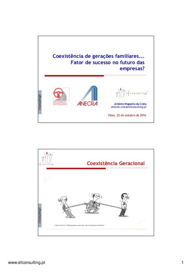 www.efconsulting.pt 1 efconsulting© Coexistência de gerações familiares... Fator de sucesso no futuro das empresas? Antóni...