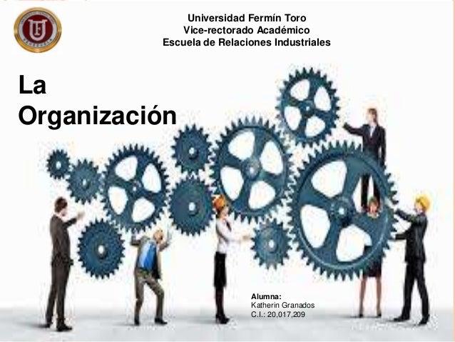 Universidad Fermín Toro Vice-rectorado Académico Escuela de Relaciones Industriales La Organización Alumna: Katherin Grana...
